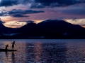 Chldren fishing at sunset